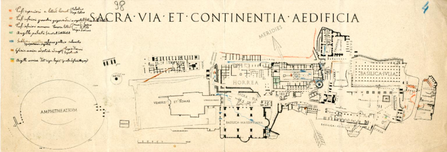 Schema geologico del Foro Romano-Palatino di Giacomo Boni, archeologo
